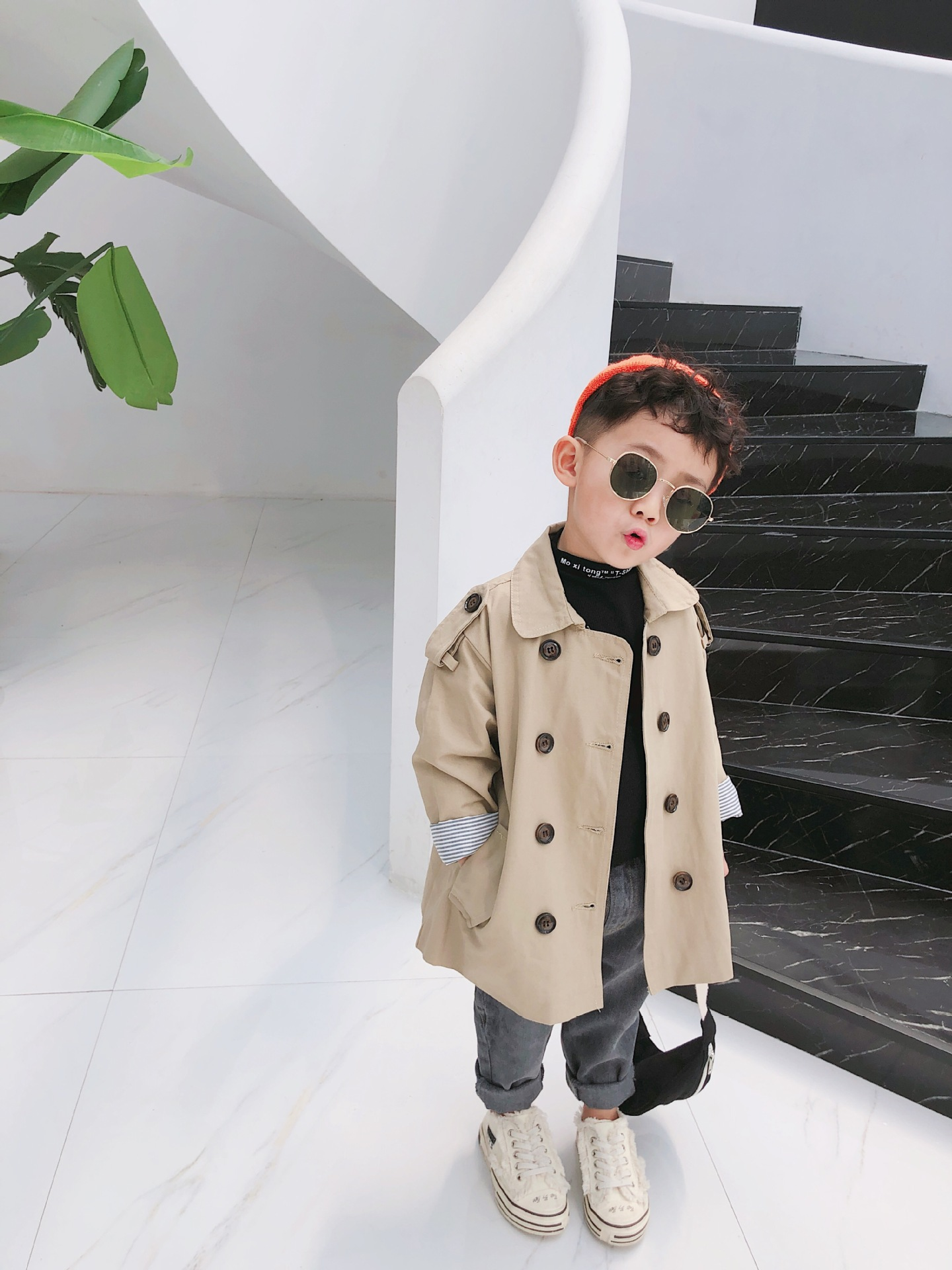 1 2 3 4 5 6 Years Kids Baby   Trench   Coat Casual Korean Double Breasted Windbreaker for Girls Boys Clothing Autumn Child Jackets