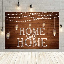 Avezano Rustic Wooden Floor Photography Backdrops Wishing Bottle Lights Sweet Home for New House Housewarming Party  Background