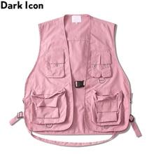 DARK ICON Military Multiple Pockets Cargo Vest Hip Hop Vest Men Dad Core Vest Sleeveless Jacket Gilet Mens Vest Streetwear