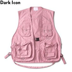 Image 1 - Gilet militaire à poches multiples, icône sombre, Cargo Hip Hop pour homme, Gilet sans manches, Gilet Core, Streetwear