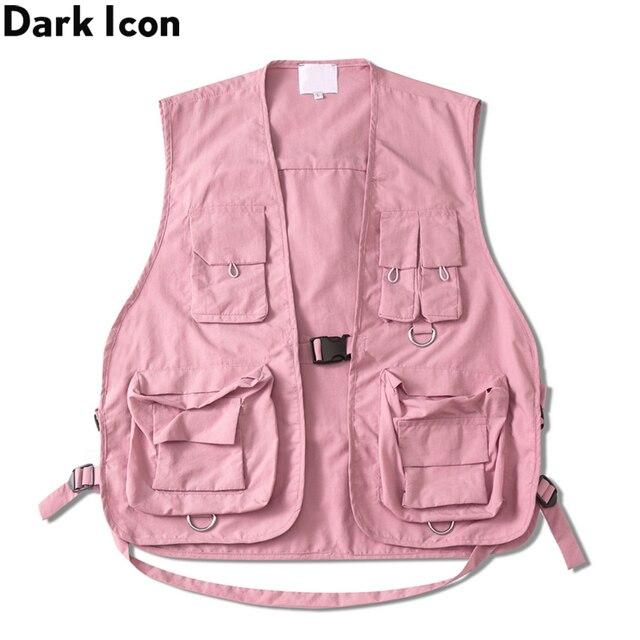 Gilet militaire à poches multiples, icône sombre, Cargo Hip Hop pour homme, Gilet sans manches, Gilet Core, Streetwear
