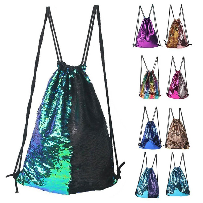 Sequins Drawstring Bag Magic Double-sided Sequined Backpack Outdoor Travel Portable Shoulder Bag Send Same Color Headband New