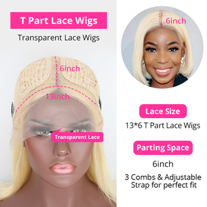 Image 5 - 613 Lace Front Wig Brazilian Short Bob Wig 180 Density Blonde Lace Front Human Hair Wigs 13*6*1 T Part Lace Wigs For Women Wigs