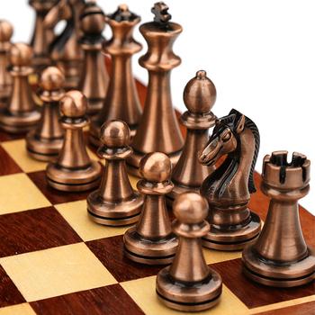 29Cm metalowe szachy luksusowe Protable składane drewniane szachy gry planszowe tekstury klasyczne ręcznie rycerze kawałki królowej Gambit tanie i dobre opinie jusenda 3 lat CN (pochodzenie) Szachy warcaby DL2239 Metal pieces Chess shape knight Queen Gambit Wooden 29-29-2 8cm