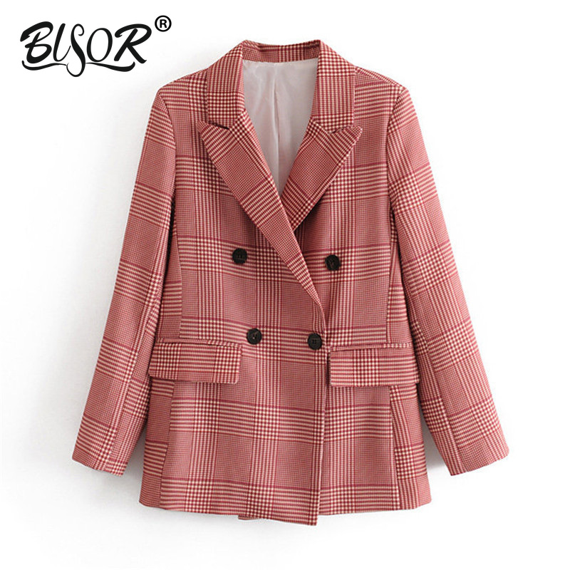 Women Elegant Houndstooth Plaid Suit Blazer Notched Collar Long Sleeve Pockets Red Coat Female Office Wear Fashion Tops