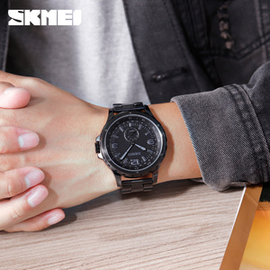 Image 4 - SKMEI Fashion Men Watches Top Brand Luxury Quartz Watch Men Waterproof IP Black Stainless Steel Plating relogio masculino 1513