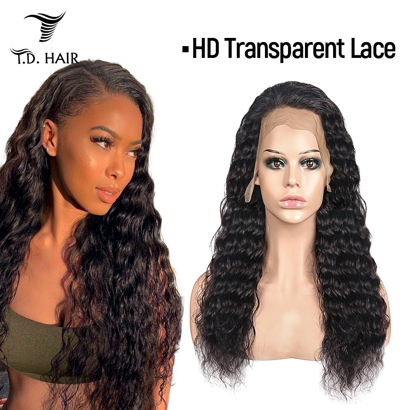 Transparent HD Lace Front Wigs 13x4 Human Hair Remy Brazilian Curly Wig Pre Plucked Natural Hairline 130 150 180 Deep Wave Wig