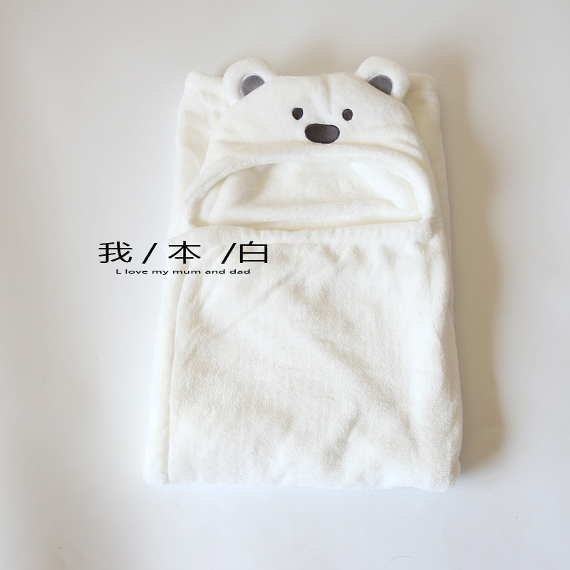 I White INS-Infant Coral Velvet BABY'S BLANKET Blankets Newborns Gro-bag Bath Towel Nursing Hooded Mantle