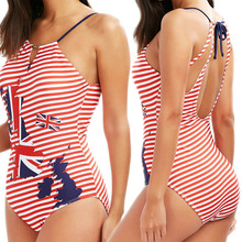 цена на British Flag Swimsuit One Piece Bathing Suit Women Maio Female Beach 2018 One-piece Suits High Neck Swimwear Striped Bathers USA