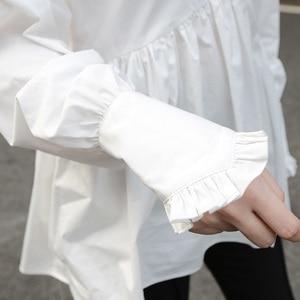 Image 3 - [EAM]2020 New Spring Autumn Stand Collar Long Sleeve White Loose Ruffles Stitch  Irregular Shirt Women Blouse Fashion Tide JL679