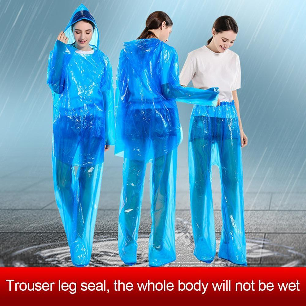Disposable Raincoat Rain Pants Set Dustproof Waterproof Rain Coat Suit For Men Women Hiking Fishing Anti-fog Poncho Protective C