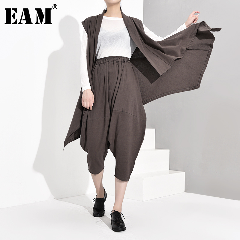 [EAM] Wide Leg Pants Three Pieces Suit New Round Neck Long Sleeve Khaki Loose Fit Women Fashion Tide Spring Autumn 2019 1A8270