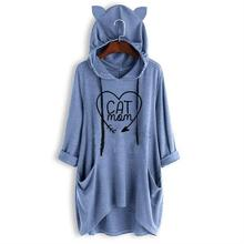 купить Arrival Cat Paw Letters Print T-Shirt For Women Mid Sleeve Hooded T-Shirt T-Shirt Tops Plus Size Summer Off The Shoulder Cute дешево