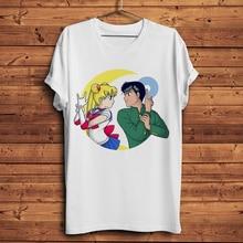 Urameshi Yuusuke and Sailor Moon Funny Anime t shirt Men New White Short Sleeve Casual Tshirt Unisex YuYu Hakusho Streetwear Tee