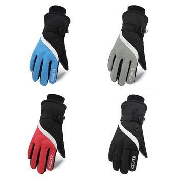 Rękawice narciarskie męskie pełne palce grube wodoodporne antypoślizgowe termiczne akcesoria outdoorowe zimowe akcesoria sportowe tanie i dobre opinie Aolikes Bawełna Skóra Pu
