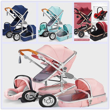 цена на Baby Stroller High-Landscape bidirectional Baby buggy Pram Folding stroller baby car Carriage Baby pushchair 0-36 months
