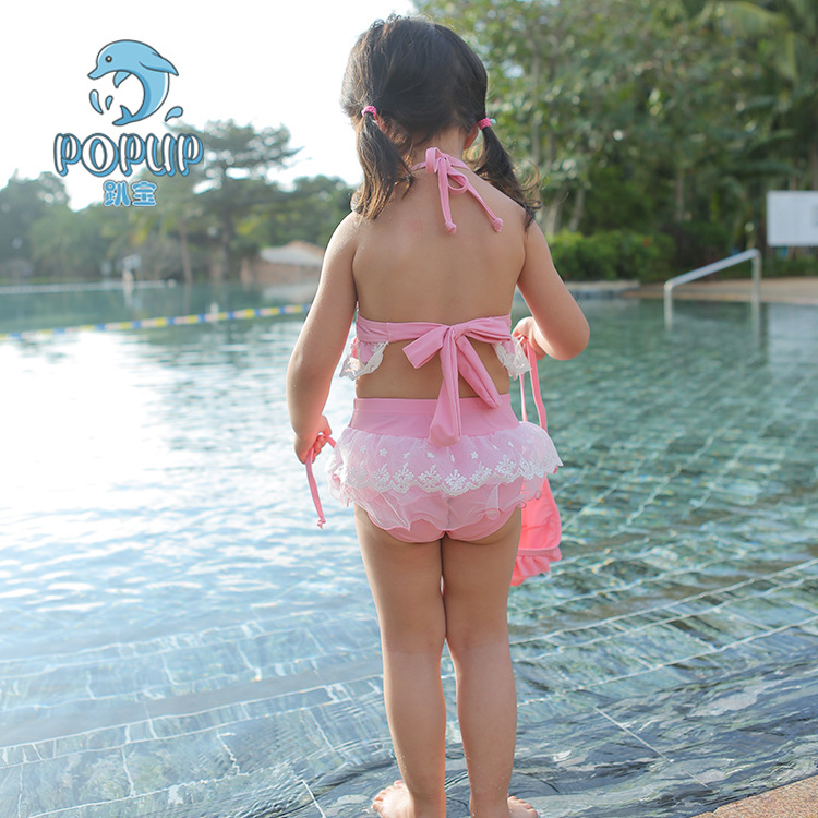 Popu Summer New Style Girls Bra-style Two-piece Swimsuits Monochrome Butterfly Lace Fluffy Skirt