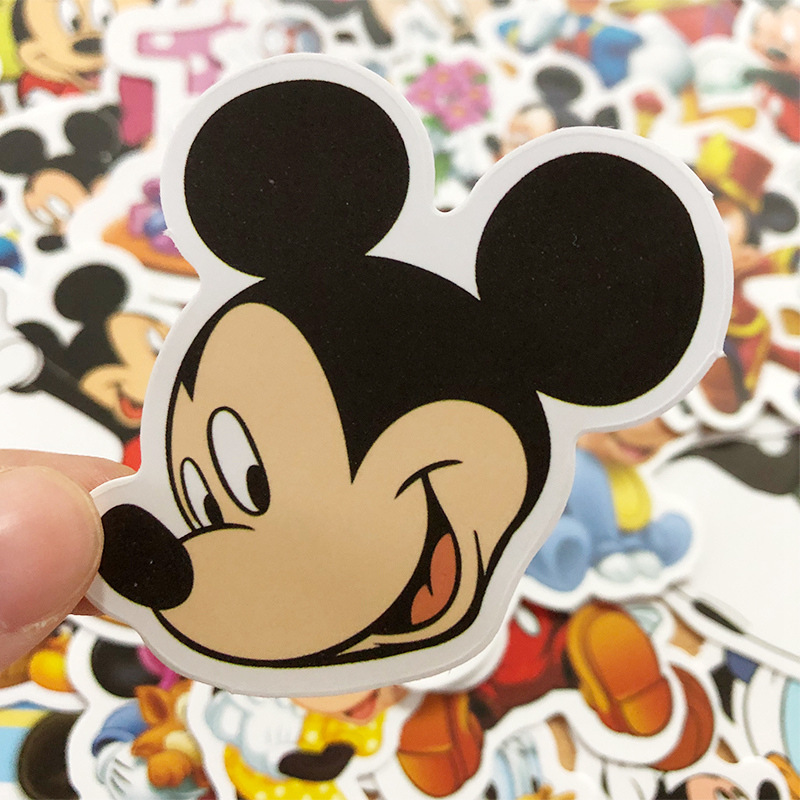 Hot 50 Pcs Disney Cartoon Animation Mickey Mouse Stickers Toys  For Kids Gift Rooms Luggage Guitar Personality Graffiti Stickers