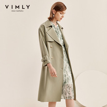 Trench-Coat Outerwear Windbreaker Vintage Double-Breasted Winter Fashion Women Lapel