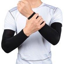 1 pçs respirável almofada de cotovelo basquete secagem rápida proteção uv correndo braço mangas fitness armguards esportes ciclismo braço protetor