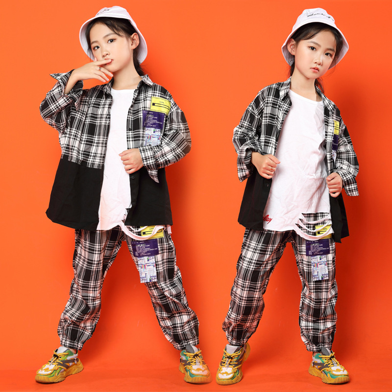 Hip Hop Dance Costumes For Girls Boys Jazz Ballroom Dance Clothes Kids Hiphop Dancewear Performance Outfits Stage Costumes LJ