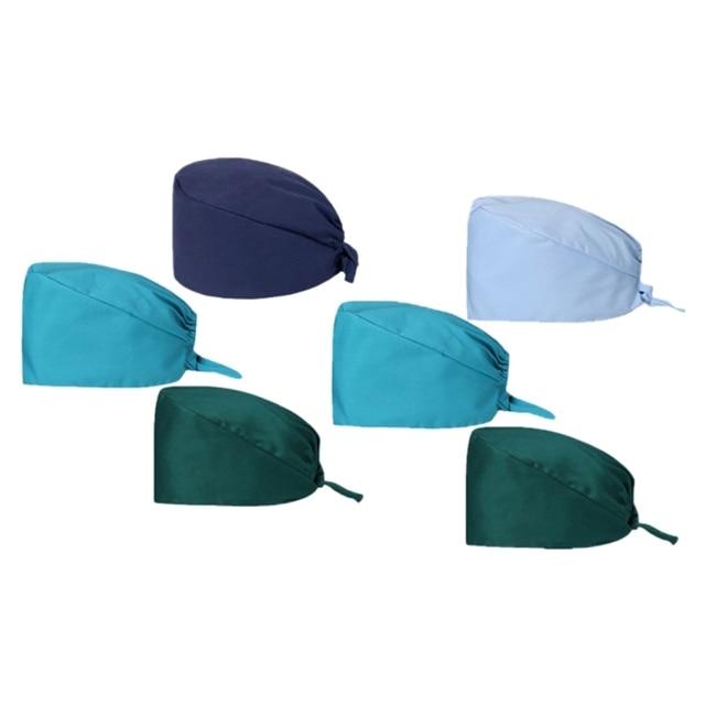 3Pc Frosted Cap Nurse Cap Work Bag Head Dust-Proof Sweat-Proof Belt Isolation Protective Cap 5
