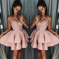 Elegant Spaghetti-Straps Sequins Homecoming Dress 2020 Short Homecoming Dresses
