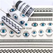 LCJ 1 шт. черный цветок/глаз/кружева Феи дизайн переводные наклейки для ногтей наклейки DIY модные обертывания Советы маникюрные инструменты