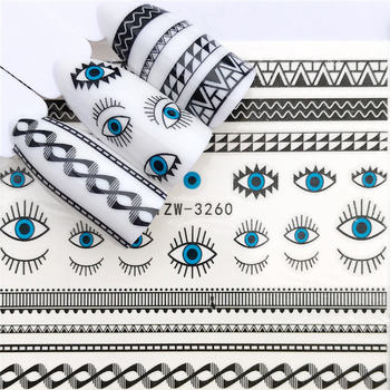 цена на LCJ 1 PC Black Flower / Eye/Lace Fairy Designs Water Transfer Sticker Nail Art Decals DIY Fashion Wraps Tips Manicure Tools
