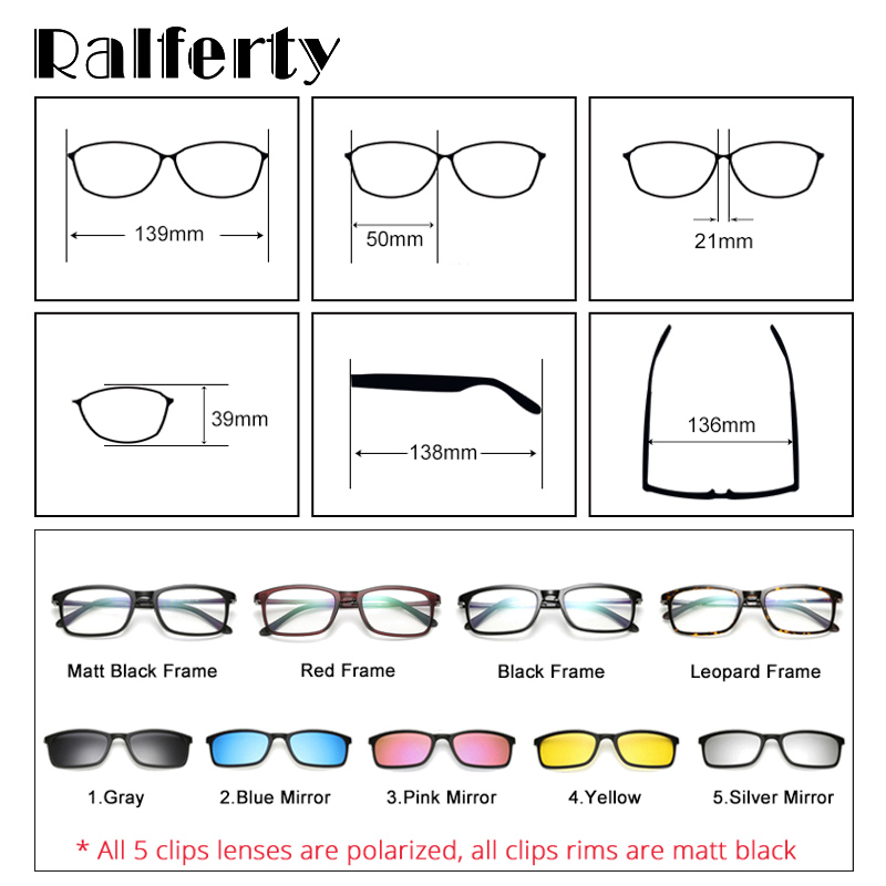 Ralferty Polarized <font><b>Sunglasses</b></font> <font><b>Men</b></font> Women <font><b>5</b></font> <font><b>In</b></font> <font><b>1</b></font> <font><b>Magnetic</b></font> <font><b>Clip</b></font> <font><b>On</b></font> Glasses TR90 Optical Prescription Eyewear Frames Eyeglass 8803 image