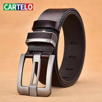 CARTELO alloy Men's leather pin buckle genuine jeans belt fashion business cow genuine leather quality leather belt men male