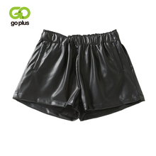 GOPLUS Women Black PU Leather Shorts Elastic High Waist Wide Leg Faux Winter Street Style Loose Femme