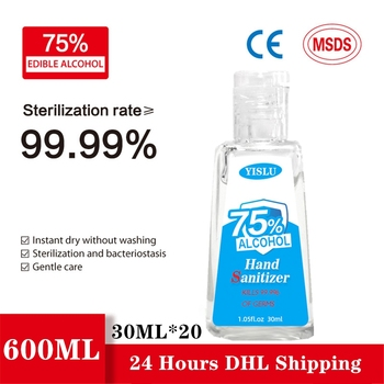 20*30ml DHL Out-door Hand Gel Sanitizer Antibacterial Hand Gel Portable Hand Cleaning Moisturizing Travel Disposable No Clean недорого