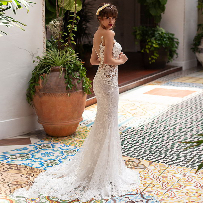 Verngo Mermaid Wedding Dress Boho Lace Appliques Wedding Gowns Elegant Bride Dress Suknia Slubna Tiul Robe De Mariee