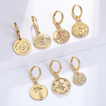 Moon and Star Hoop Earrings for Women Animals Dangle Earring Female Copper Pave Zircon CZ Party Statement Korean New Fashion