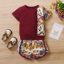 6M-4T Baby Girl Summer Clothes Set Toddler Girls Outfit Soft Cotton Sports Top + Shorts Suit Little Girl Clothing 4T 3T 2T12M