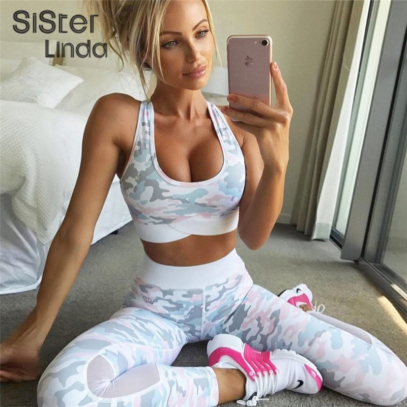 Sisterlinda Camouflage Print Women Suits 2 Piece Set Sexy Mesh Splice Bras Vest Leggings Fitness Sets Tracksuit Women 2019 Fall