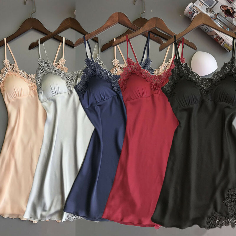 Women's Sexy Lingerie Silk Nightgown Summer Dress Lace Night Dress Sleepwear Babydoll Nightie Satin Homewear Chest Pad Nightwear