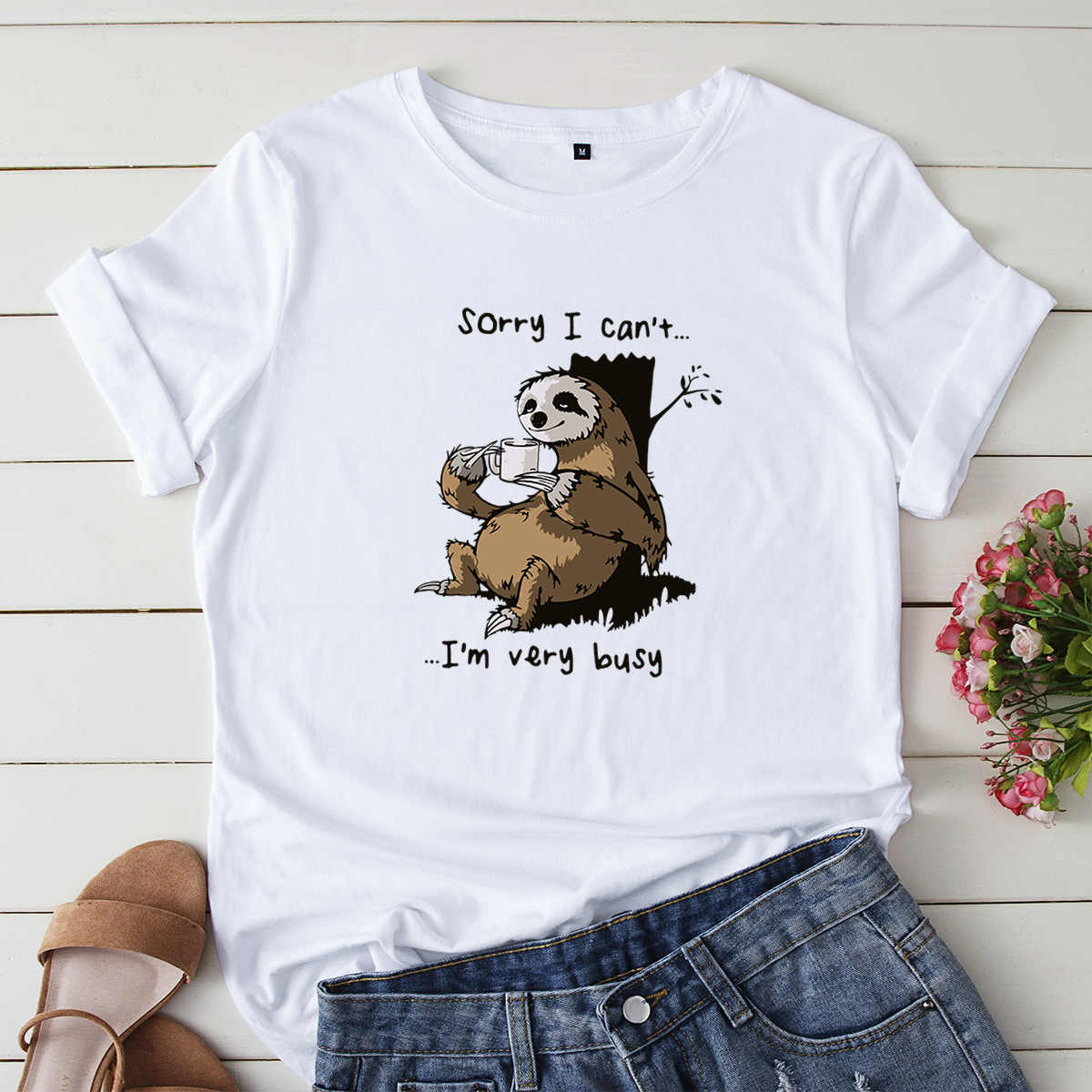 100% algodón perezoso estampado Mujer camiseta verano moda Tops talla grande Animal dibujo Kawaii camiseta Rosa nuevo