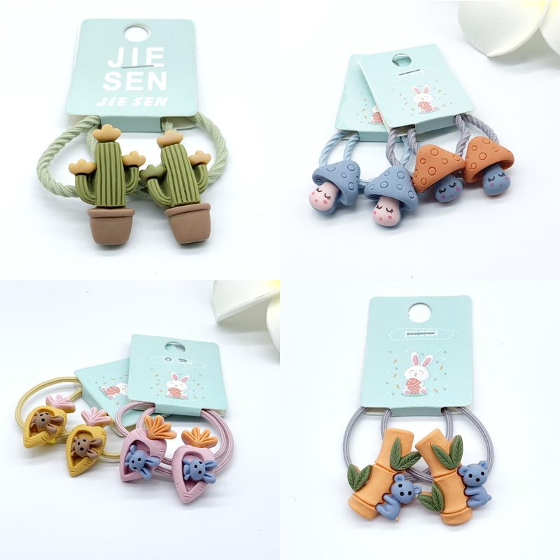 Funny Cute Hair Ties Rope Mushroom Rabbit Carrot Panda Bamboo Cactus Elastic Rubber Bands Kids Girls Children Hair Accessories