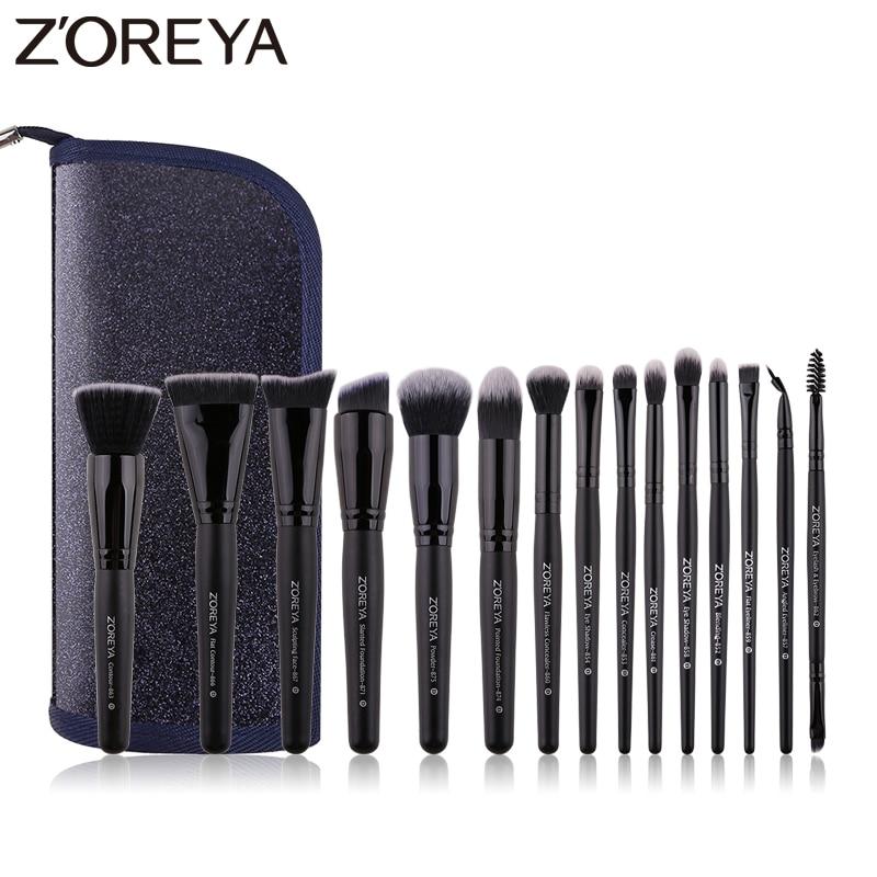 pinceis de maquiagem zoreya preto classico 7 9 15pcs confortavel cabelo sintetico make up brush set