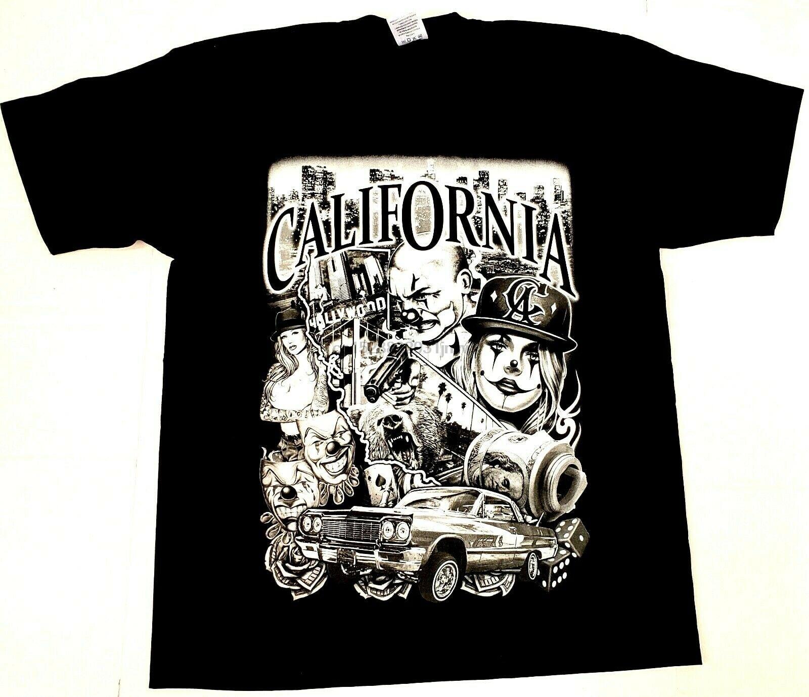 CALIFORNIA LOWRIDER T-shirt Cali Stay Low Urban Streetwear Adult Mens Tee New