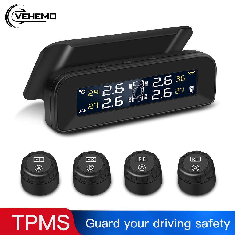 TPMS 4PCS Sensor Tire Pressure Monitoring System Collapsible Tire Pressure Monitoring Car Tire Pressure Alarm for Windshield