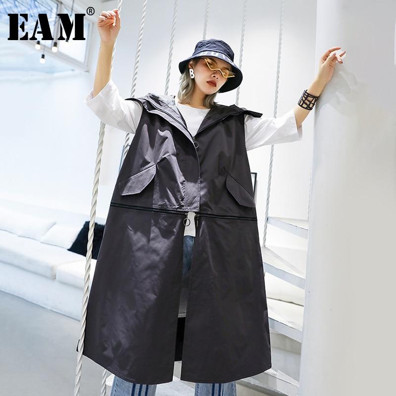 [EAM] 2019 New Spring Autumn Lapel Sleeveless Black Striped Split Joint Mesh Loose Temperament Vest Women Fashion Tide JT184