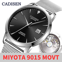CADISEN Ultra thin Simple Classic Men Mechanical Watches Business MIYOTA 9015 Watch Luxury Brand Genuine Leather Automatic Watch
