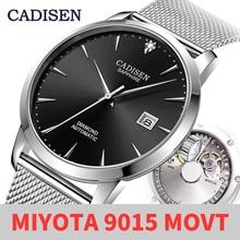 Cadisen relógio mecânico masculino, relógio mecânico ultrafino, masculino, automático, de couro genuíno, para negócios, miyota 9015