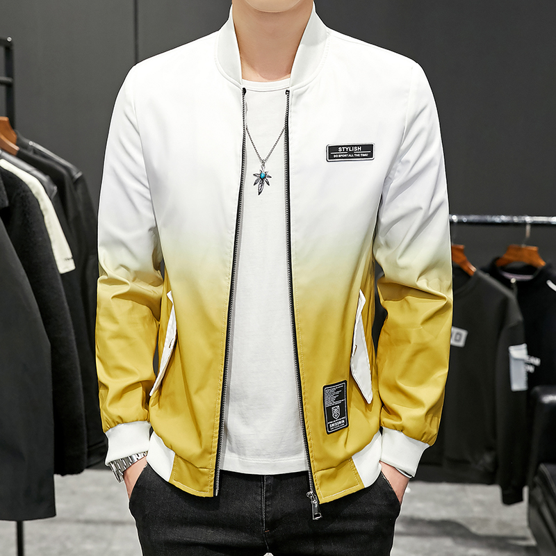 Fashion Jacket Men Gradient Color Slim Fit Bomber Jacket Male Spring Autumn Windbreaker Veste Streetwear Hip Hop Outerwear Coat