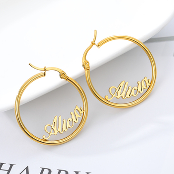 Personalized Name Stainless Steel Letter Stud Earrings For Women Fashion Custom Name Piercing Earrings Nameplate Open Round