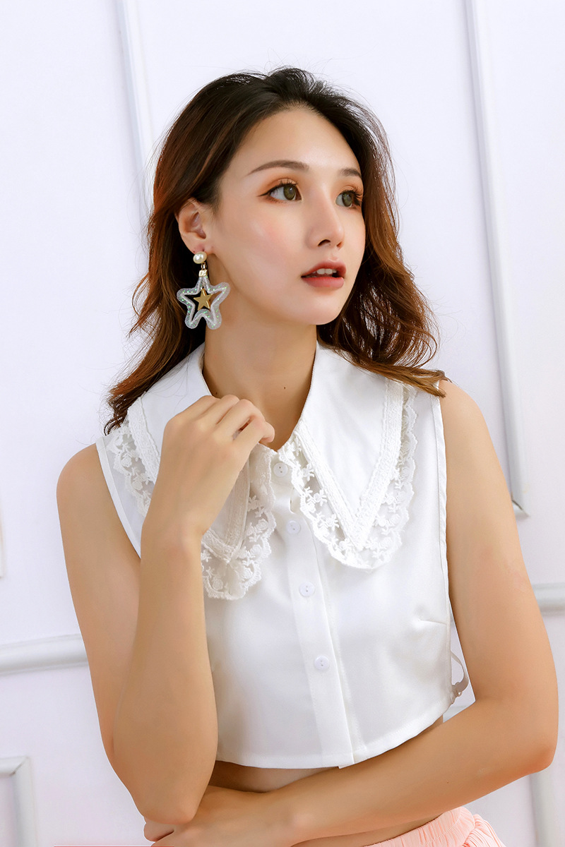 Chiffon White Women Fake Collar Beaded Crystal Removable Detachable Collars White Women Shirt False Collars Black Fake Collar