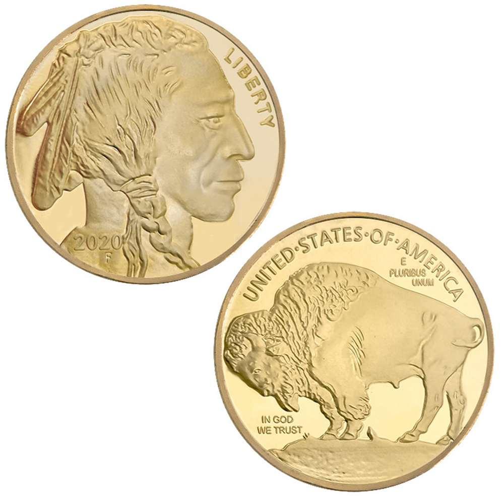 Nativos americanos e eua liberdade buffalo yak em deus nós confiamos ouro desafio moeda colecionável 2020